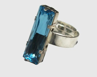 Crimped ring Silver 925 and hand made genuine turquoise Swarovski Aquamarine Crystal