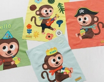 Cute Monkey Pattern Cotton Panel Fabric - 4 Designs Package, Illustration Design for Kids