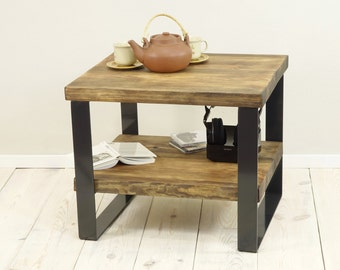 Reclaimed Wood Side Table, 2 level coffee table, plank coffee table, industrial end table, coffee table storage,