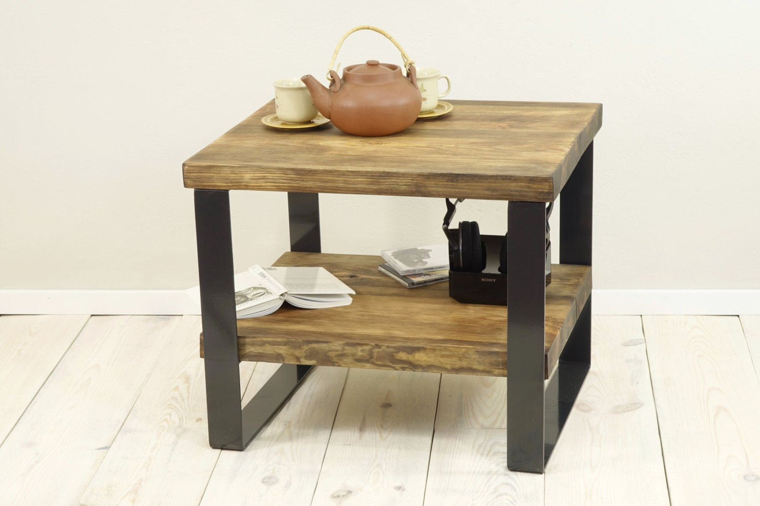 Reclaimed wood side table level coffee plank