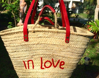 French market basket, red leather handles, farmer's market bag, beach bag, beach basket, eco friendly, hand embroider