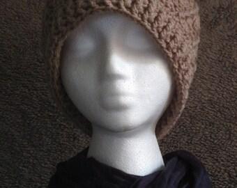 Men's Crocheted Taupe Winter Beanie