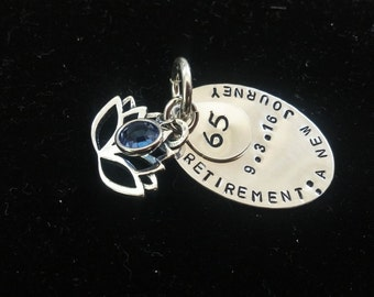 Hand Stamped Sterling Silver Double Disc Retirement Charm for Charm Bracelet