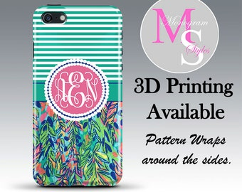 Monogram iPhone 6 Case Personalized Phone Case Lilly Pulitzer Inspired Monogrammed iPhone Case, Iphone 4 4S, iPhone 5 5S 5C, iPhone 6S #2357