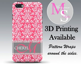 Monogram iPhone Case Personalized Phone Case Pink Monogrammed iPhone 6S Case, Iphone 4, 4S, iPhone 5S, 5C iPhone 6 Plus Tough Case #2592