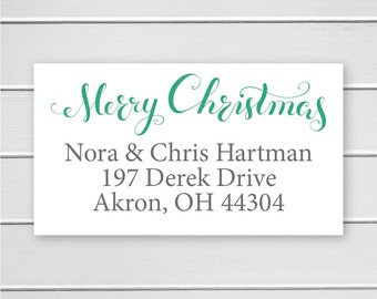 Merry Christmas Return Address Stickers, Christmas Return Address Labels, Return Address Stickers (#357-L)