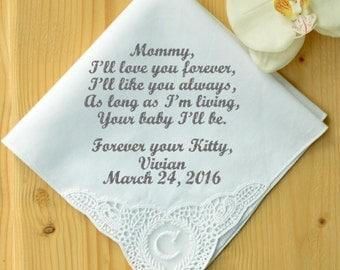 Personalized wedding handkerchief. Embroidered handkerchief! Monogrammed corner! rehearsal dinner gift! cheap handkerchief! one sentenced!