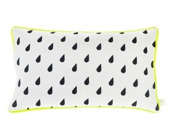 Neon Cushion Monochrome Raindrops Cushion Neon Yellow Piping Geometric Pillow Black & White Pillow Cover Cushion Cover Rain Unique Gift Cute