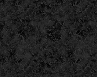 108'' Wilmington Prints Black Filigree Flannel by the Yard 5754-999