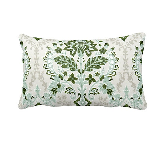 Forest Green Pillow Cover Green Throw Pillow Cover Damask