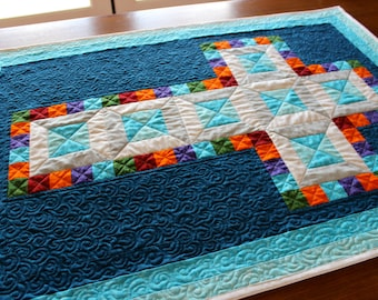 """Jewel Cross - Wall hanging or Christening quilt - size: 30"""" x 42"""""""