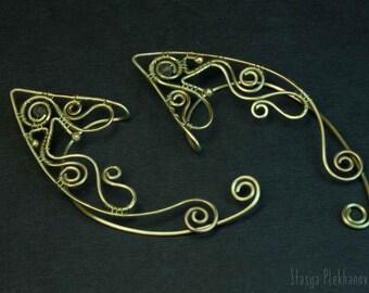 Elven ear cuffs, Labradorite cuffs, Wire wrapped ear cuffs, Elf ear cuffs, Wire ear cuffs, Fantasy jewelry