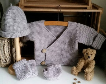 Hand Knitted Baby Layette | Baby Jacket, hat, mittens, booties | Pram Set | Baby Shower | New Baby Gift | The Little Songbird Knitting Co.