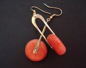 Handmade Sponge Coral Earrings-Hammered Bronze Wire and Coral Earrings-Cold Connection Minimal Modern Earrings-Hoop Earrings