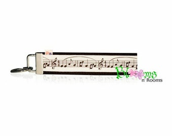 music notes wristlet keychain key fob