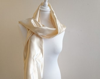 Champagne gold satin scarf light wedding/party/christening/cocktail/Christmas/holiday season
