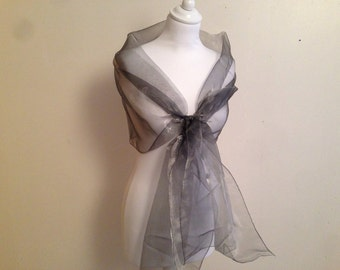 Stole grey anthracite metal organza celebrates end of year 70/200 cm