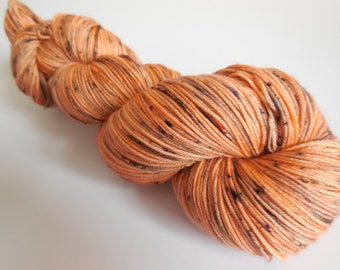 Pumpkin Hand Dyed Superwash Merino Sock Yarn