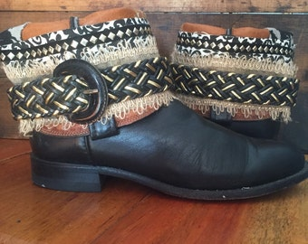JUSTIN black upcycled western cowboy boots women's size 7