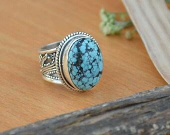 Tibetan Turquoise Ring, Turquoise Gemstone Ring, 925 Sterling Silver Ring, Oval Green Ring Size 7, Turquoise Gemstone Ring