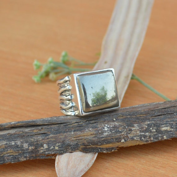 Golden Pyrite Gemstone Ring, Bezel Set Ring,  Goldn Ring Size 8.5, Gift For Her, Solid 925 Sterling Silver Ring Jewelry