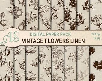 Digital Vintage Flowers Linen Paper Pack, 16 printable Digital Scrapbooking papers, shabby fabric Digital Collage, Instant Download, set 336