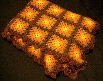 "Beautiful 1970's Crochet Afghan - Autumn Colors - Orange, Yellow, Tan & Brown Squares - Fall Colors - Crochet Grannie Blanket - 66"" x 51"""