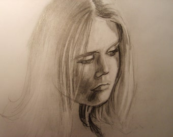 Girl Young Woman Portrait Pencil on Paper Anamorphic Sensation By The Artist