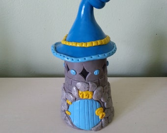 Polymer clay house, gnomes house, gnome house, fairy house, miniature house, miniature garden house, clay little house. gnome house
