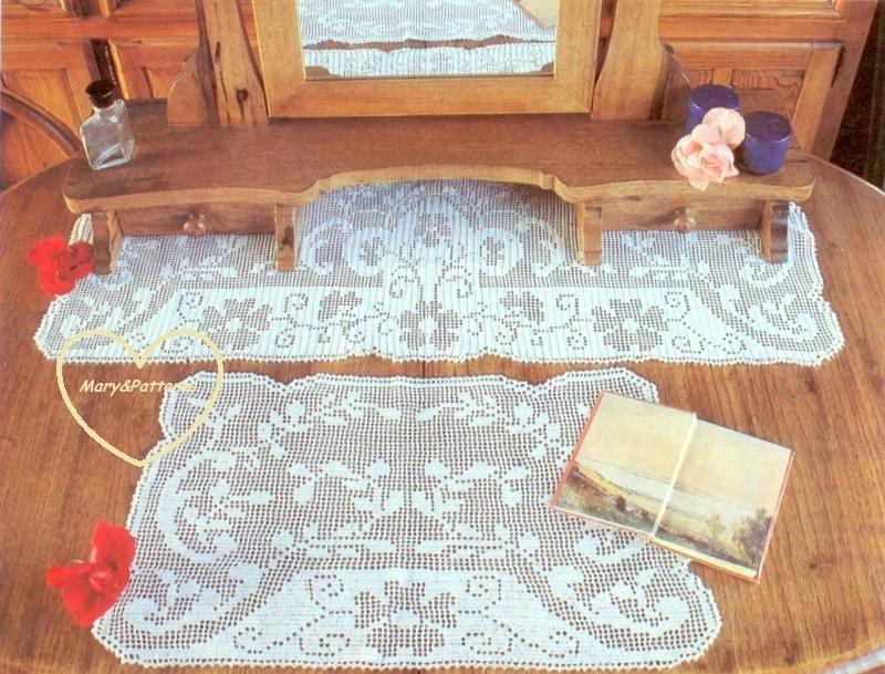 Pdf crochet pattern table runner crochet doily set home - Crochet mural vintage ...