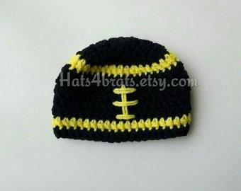 Baby Pittsburgh Steelers Hat, Pittsburgh Steelers Photo Prop, Newborn Steelers Hat, Infant Pittsburgh Steelers, Crochet Steelers Hat, Baby