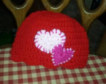 Crocheted heart hat