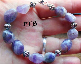 "3rd Eye Psychic Visions ~ Authentic Amethyst Gemstone Nugget Bracelet 7.5"""