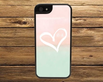 Custom Cell Phone Case, Heart with Initials Mint and Pink - iPhone 6/6s, 6/6s Plus, 5/5s, 5C, 4/4s - iPod 6 5 4 - Samsung Galaxy S6 S5 S4 S3