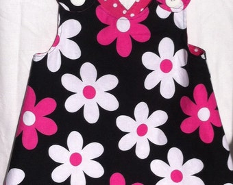 Pinafore toddler reversible black pink flowers bloomers too
