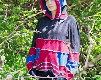 Vibrant Black Red and Blue OOAK Upcycled Sweater Hoodie