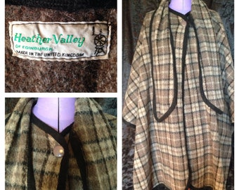60's heather valley wool cloak / cape free size