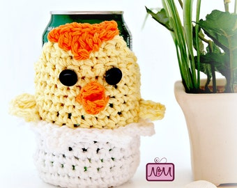 Crochet Egg Hatching Chick Cozy, Easter Cozy, Pop Can, Beer Can, Beer Bottle, Organizer, Yellow and White, Novelty, Gift, Whimsical and Fun