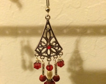 Red with pearl chandeliers