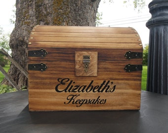 Children's Stained Personalized Wood Treasure Chest, Child's Keepsake Chest, Child's Toy Chest, Birthday Gift, Wooden Stained Chest, Toy Box