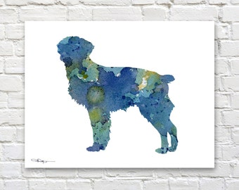 Blue Brittany Art Print - Abstract Watercolor Painting - Wall Decor