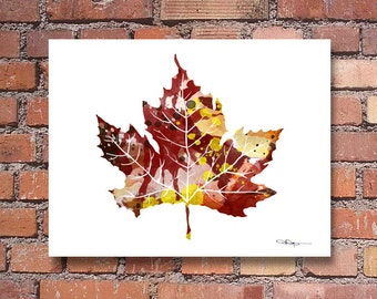 Maple Leaf Art Print - Abstract Watercolor Painting - Wall Decor