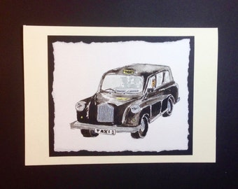 Hand-painted watercolour Black taxi cab card