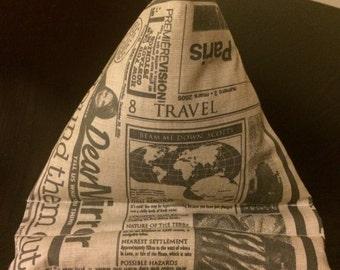 Handmade tablet beanie stand - newspaper print fabric