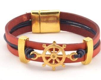 women gold bracelet, ship wheel bracelet, gold jewelry, nautical bracelet women, red and blue leather bracelet, marine wife sailing bracelet