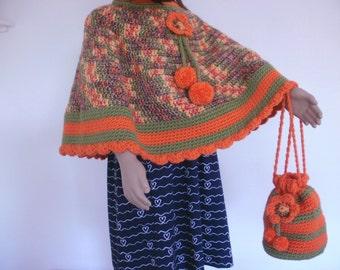 Girl's poncho, colourful crochet poncho for girls, green and orange poncho, crochet drawstring bag, crochet poncho and bag set, unique gift.