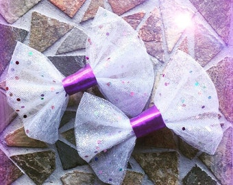 Birthday Party Styled Multicolored Glittered White Mesh Hair Bow Set