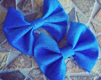 Blue Glitter Mesh Hair Bow Set of 2