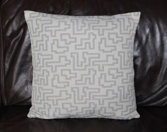 Handmade Cushion Cover Geometric woven design in dove grey on cream