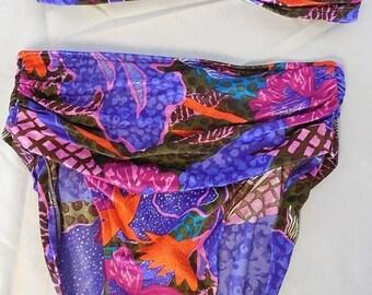 Vtg 2 Pc Bikini Jantzen Tropical Print Bathing Suit Swimwear High Waist Size 10
